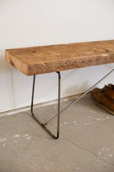 Minimalist modern industrial office desk or dining table sun tanned poplar steel base legs - Modernes mobeldesign ...