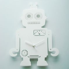 Andy the Robot white acrylic clock. via Etsy. White Clocks, Wolf Design, White Acrylics, Decorative Items, Colours, Calculator, Robot, Etsy, Decorative Objects