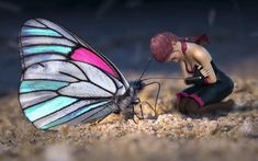 Free Image on Pixabay - Fantasy, Butterfly, Girl, Elf, Sand