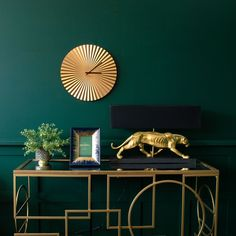 The gold pleated wall clock is simple, stylish, but oh so glamorous. Clocks are the heartbeat of the home so celebrate this with a gold pleated clock. Art Deco Living Room, My Living Room, Black Living Rooms, Gold Photo Frames, Best Paint Colors, Style Deco, Black Table Lamps, Eames Chairs, Furniture Design