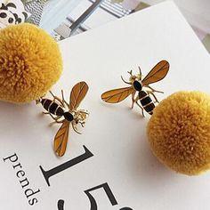 Cute Bee Dangle Earrings for Women Winter Drop Pom Pom Ball Fashion Ear Jewelry  | eBay