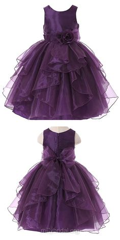 Promotion Ball Gown Flower Girl Dresses,Scoop Neck Organza Long Girls Communion Dresses, Sashes / Ribbons Holiday & Christmas Dresses, Cute Tutu Dresses