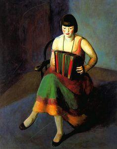 Pene du Bois, Guy (American, 1884-1958) - Woman playing Accordeon - 1924