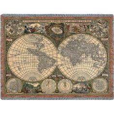 Old World Map Throw - 54 x 70 Blanket/Throw