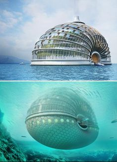 """The Ark Hotel. Inspired by the 2012 end of the world scares, this floating hotel is powered solely by wind and solar energy and is completely self sufficient in its water needs."" COOL"