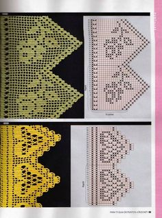 This is an interesting and nice stitch pattern: the Chevron Retro Stitch Wave Crochet pattern which I'm sure you guys would like to know how it is done. Filet Crochet Charts, Crochet Motifs, Crochet Borders, Crochet Diagram, Crochet Stitches Patterns, Thread Crochet, Crochet Trim, Knit Or Crochet, Crochet Designs