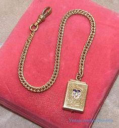 Antique Victorian Rose Gold Pocket Watch Chain & Floral Locket Fob #PocketWatchChain