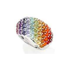Sterling Silver / Platinum or 18K Vermeil Exotic Rainbow Multi-Gem... ❤ liked on Polyvore featuring jewelry, rings, rainbow, accessories, anillos, sterling silver jewelry, rainbow ring, 18k ring, 18k platinum ring and vermeil ring