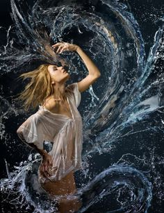 Beautiful girl in a wet white shirt and a water dragon - Stock Photo , Conceptual Photography, Amazing Photography, Portrait Photography, Tarot, Stock Pictures, Stock Photos, Joy Of Living, Water Dragon, Photoshop