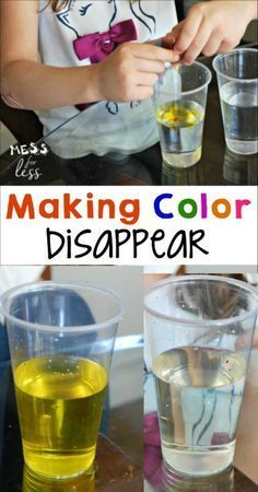My kids love easy experiments like this one where they made color disappear. Such a fun STEM activity!