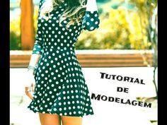 Tutorial de modelagem - Vestido de Malha com saia godê