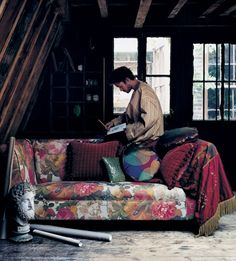 My favourite fabric Pompador by Mulberry Home on my favourite sofa a chesterfield