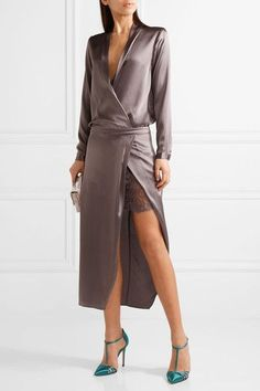Charcoal silk-satin Concealed zip fastening along back 100% silk; trim: 60% cotton, 40% nylon Dry clean Designer color: Truffle Imported