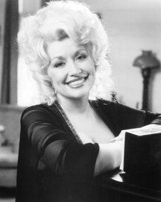 Dolly Parton Smiling Portrait B/W Photo Or Poster