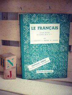 """Livre scolaire """"Le Français"""". Cours Moyen et classes de 8e et 7e - 1955 - livre d'école ancien de la boutique SaintFrusquin sur Etsy"""