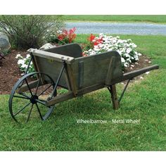 Amish Large Rustic Wooden Wheelbarrow Pinecraft.com $378 Winter 2014