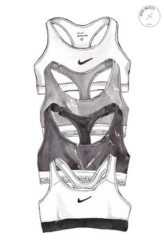 Good objects - sports bras watercolor illustration. Calvin klein & nike monochrome underwear.