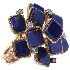 Lapis and Diamond Gold Ring | From a unique collection of vintage cluster rings at https://www.1stdibs.com/jewelry/rings/cluster-rings/