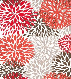 "Drapes/Curtains - Premier Prints Blooms Collection - Red, Orange, Grey, Brown and White (50"" x 96"") on Etsy, $150.00"