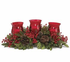 """Christmas Holiday Floral Candleholder Trio by Burton, Burton. $114.95. Polysilk, Glass, Metal, Plastic, + Foam.. 7 1/2""""H X 25""""W X 15 1/2""""D.. Candles not included.. Red berry, pinecone and greenery candleholder with 3 glass globes. Polysilk, Glass, Metal, Plastic, + Foam.. Red berry, pinecone and greenery candleholder with 3 glass globes. Polysilk, Glass, Metal, Plastic, + Foam. 7 1/2""""H X 25""""W X 15 1/2""""D. Candles not included."""