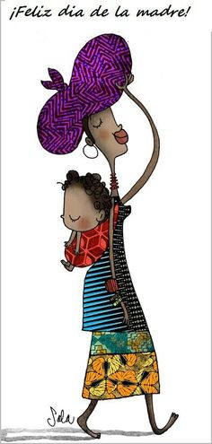 Illustration by Carme Sala African American Art, African Art, Baby Illustration, Baby Co, Cards For Friends, Mothers Love, Mother And Child, Vintage Cards, Baby Wearing