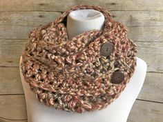 Button Infinity Scarf, Extra-Long Loop Scarf with Buttons, Chunky Cowl, Oversized Crochet Scarf, Taupe Pink Mix Color by SwanJay on Etsy