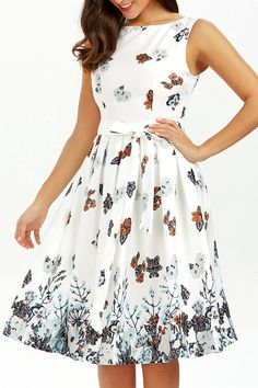 $19.98 Belted Sleeveless Floral Printed Dress - White