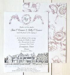 Tara & Billy Dromquinna Manor Venue Illustrated Wedding Invitation by Appleberry Press Illustrated Wedding Invitations, Unique Wedding Invitations, Wedding Stationery, Invites, Pink Wedding Theme, Illustrators On Instagram, Wedding Story, Unique Weddings, Flyer Design
