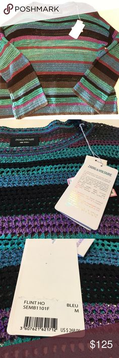 Zadig & Voltaire striped sparkly sweater Stunning piece with vibrant colors in pristine condition--brand new with tags! Zadig & Voltaire Sweaters Crew & Scoop Necks