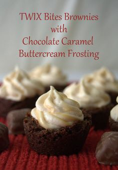 TWIX® Bites Brownies with Chocolate Caramel Buttercream Frosting - bite-sized brownies, each with a TWIX® Bite in the middle and covered with a Chocolate Caramel Buttercream Frosting.