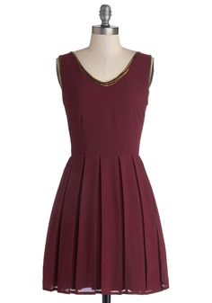 Festival of Delight Dress. As you and your friends gather to celebrate the season, you gleefully arrive with a plate of cookies, your biggest smile, and wearing this burgundy dress! #red #modcloth