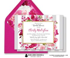 Beautiful bridal shower invitation with soft gray classic vertical stripes, lush roses floral pattern detail in shades of blush pink and fuchsia, gold glitter accents and modern calligraphy script. *This invitation does not include real glitter, but rather a quality high resolution graphic that will print to look like glitter. If you choose to print a digital file yourself, we recommend professional printing or printing on a high quality home laser printer to achieve the most realistic…
