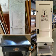 Easy entry way table or hall tree made from a small side table and an antique door. Even a beginner can do this project with minimal tools.