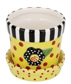 painting flower pots | yellow polka dot flower pot cute flower pot painted ceramic 4 inches ...