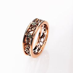 Rose Gold Filigree ring with forest Green Diamonds by TorkkeliJewellery,