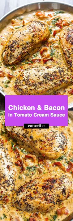 Who can turn down a nourishing dinner that pairs both chicken AND bacon? Chicken breasts seasoned with Italian spices get seared tender and drenched is a cheesy tomato spinach sauce with a savory n…