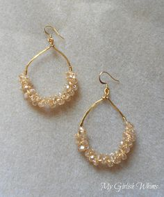 These Anthro Knockoff Earrings are super chic and easy to make. Learn how to wire wrap your own pair of earrings like these and get the look for less.