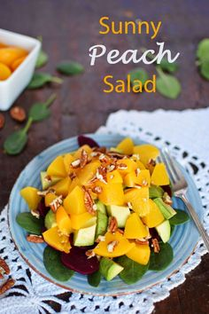 Peaches, beets, avocados, pecans, spinach and a dressing - a quick, easy and delicious spring salad idea! #vegan #glutenfree