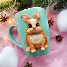 Fimo Clay, Polymer Clay Projects, Clay Crafts, Cute Mug, Clay Cup, Polymer Clay Christmas, 3d Painting, Diy Home Crafts, Hobbies And Crafts