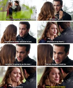 """""""Wherever I go, I'm gonna be better because of you.You'll be in my heart"""" - Mon-El saying goodbye to Kara #Supergirl [[ NOO!! Come on!! :( ]]"""