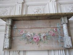 OMG Original Christie Repasy Painting Swag White Pink Roses on Old Wall Shelf | eBay