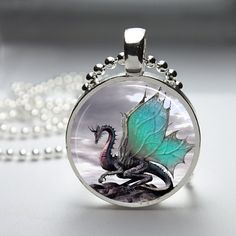 2 Tone Dragon Round Glass Pendant Necklace.