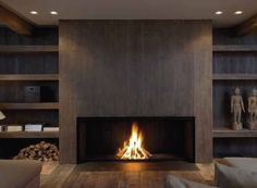 Contemporary fireplace (wood-burning open hearth ...