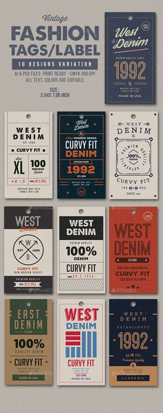 Vintage Graphic Design 10 Vintage Fashion Tags / Label - Miscellaneous Print Templates - Vintage Fashion Tag/Label 10 Unique fashion tags u can use this tags for you distro, denim, clothing, fashion, or whatever you want Spesification 10 Design Ai Seoul Fashion, Fashion Tag, Fashion Labels, Vintage Fashion, Unique Fashion, Vintage Tags, Vintage Labels, Tag Design, Label Design
