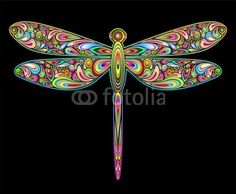 Dragonfly Psychedelic Art Design-Libellula Insetto Psichedelico