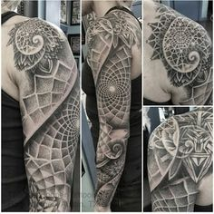 Geometric dotwork sleeve - Thomas Hooper @thomas__hooper - Austin, TX #tattoo #tattooartist #tattwho #ink #inkedlife #inkedlifestyle #tattoos #tattooart #artist #dots #dotwork #sleeve #geometric
