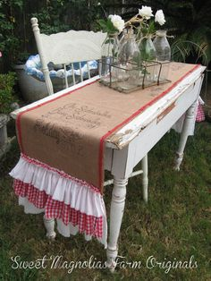 "Burlap Table Runner  Christmas Runner ""City Sidewalks, Busy Sidewalks Dressed in Holiday Style"" Red and White Gingham Ruffles by SweetMagnoliasFarm, $58.50"