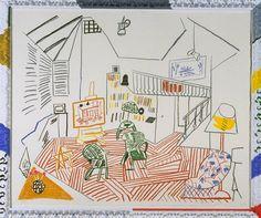 David Hockney: Pembroke Studio Interior, 1984. David Hockney: Pembroke Studio with Blue Chairs and Lamp, 1984. (bron: tate.org )