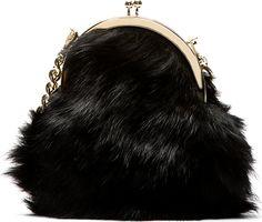 Simone Rocha Gold & Black Shearling Shoulder Pouch