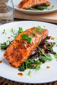 Maple-Miso Dijon Salmon Recipe : A super quick, easy, tasty, and healthy salmon in a maple-miso dijon glaze. Salmon Recipes, Fish Recipes, Seafood Recipes, Cooking Recipes, Healthy Recipes, Salmon Food, Salmon Dinner, Skinny Recipes, Recipes Dinner